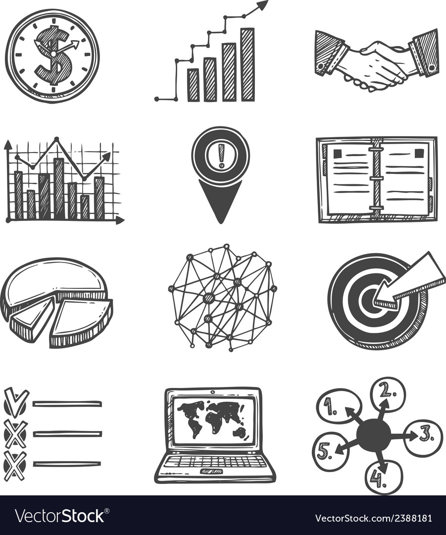 Sketch strategy and management icons vector | Price: 1 Credit (USD $1)