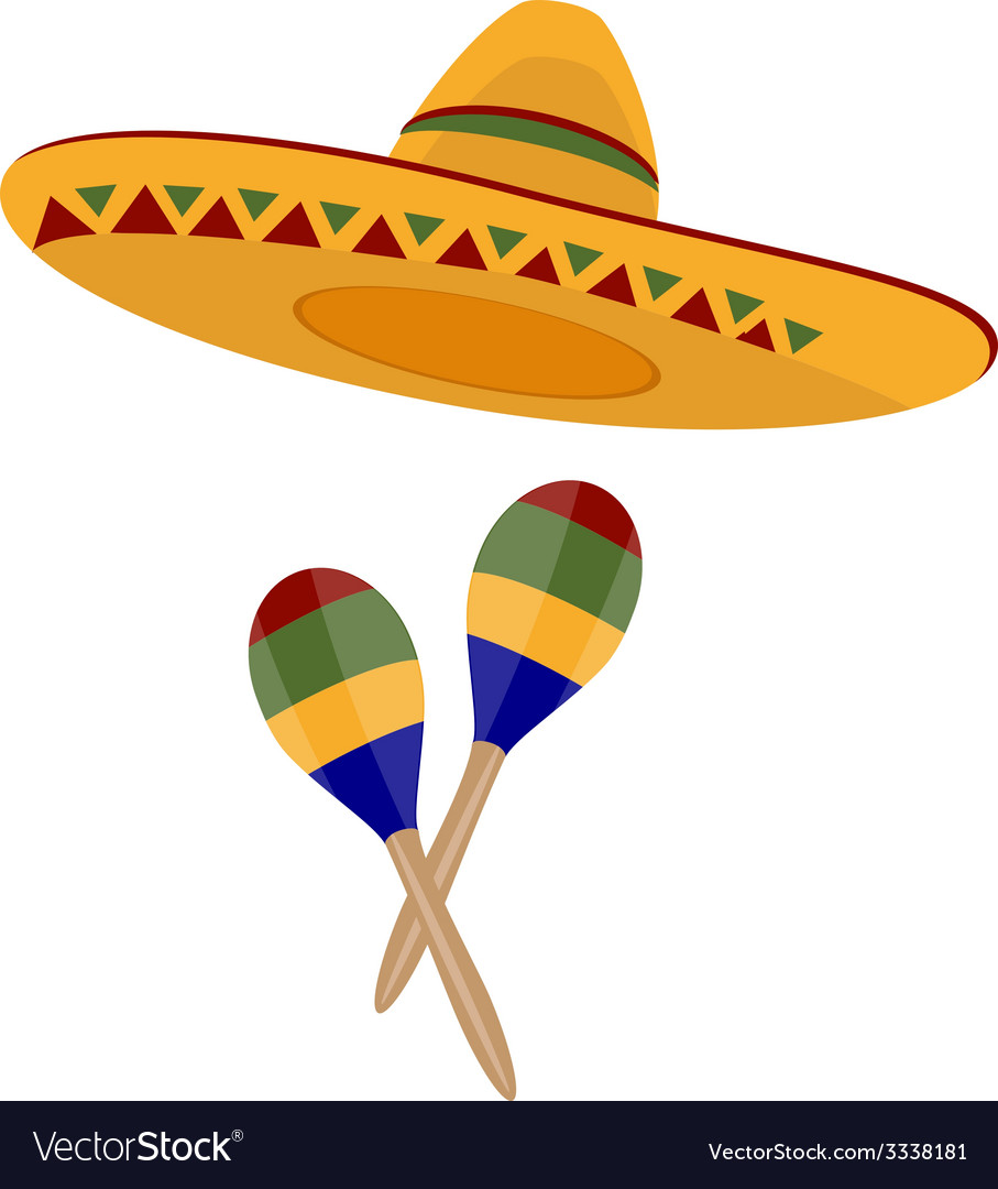 Sombrero and maracas vector | Price: 1 Credit (USD $1)