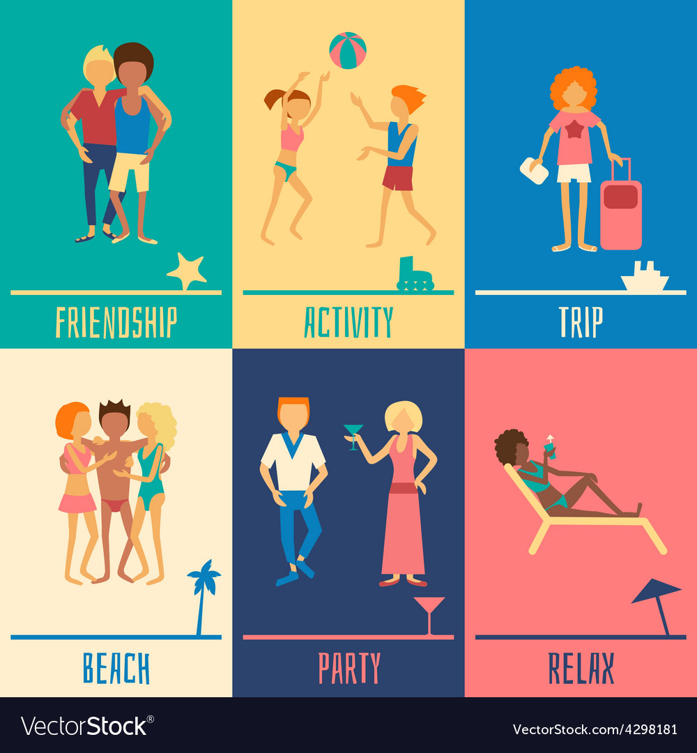 Vacation people set vector | Price: 1 Credit (USD $1)