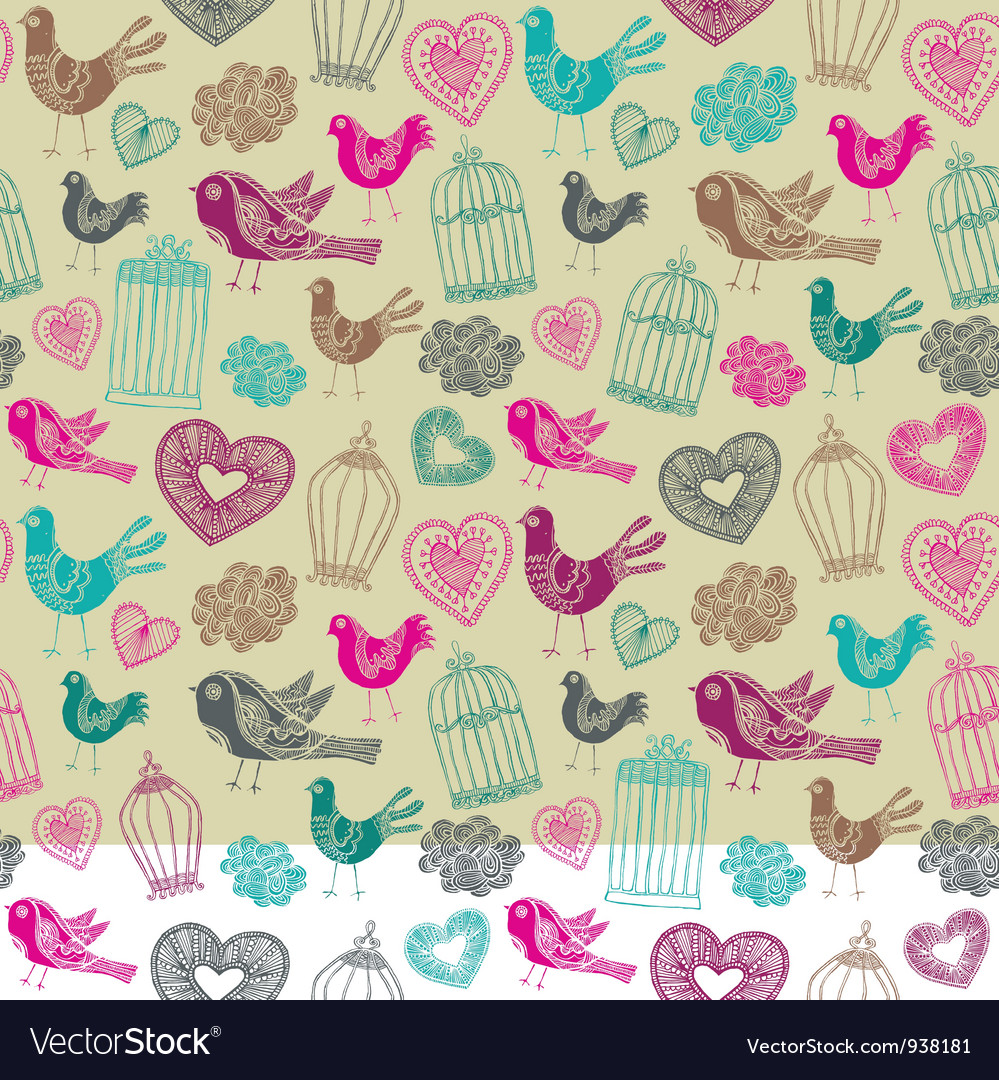 Vintage birds floral pattern vector | Price: 1 Credit (USD $1)