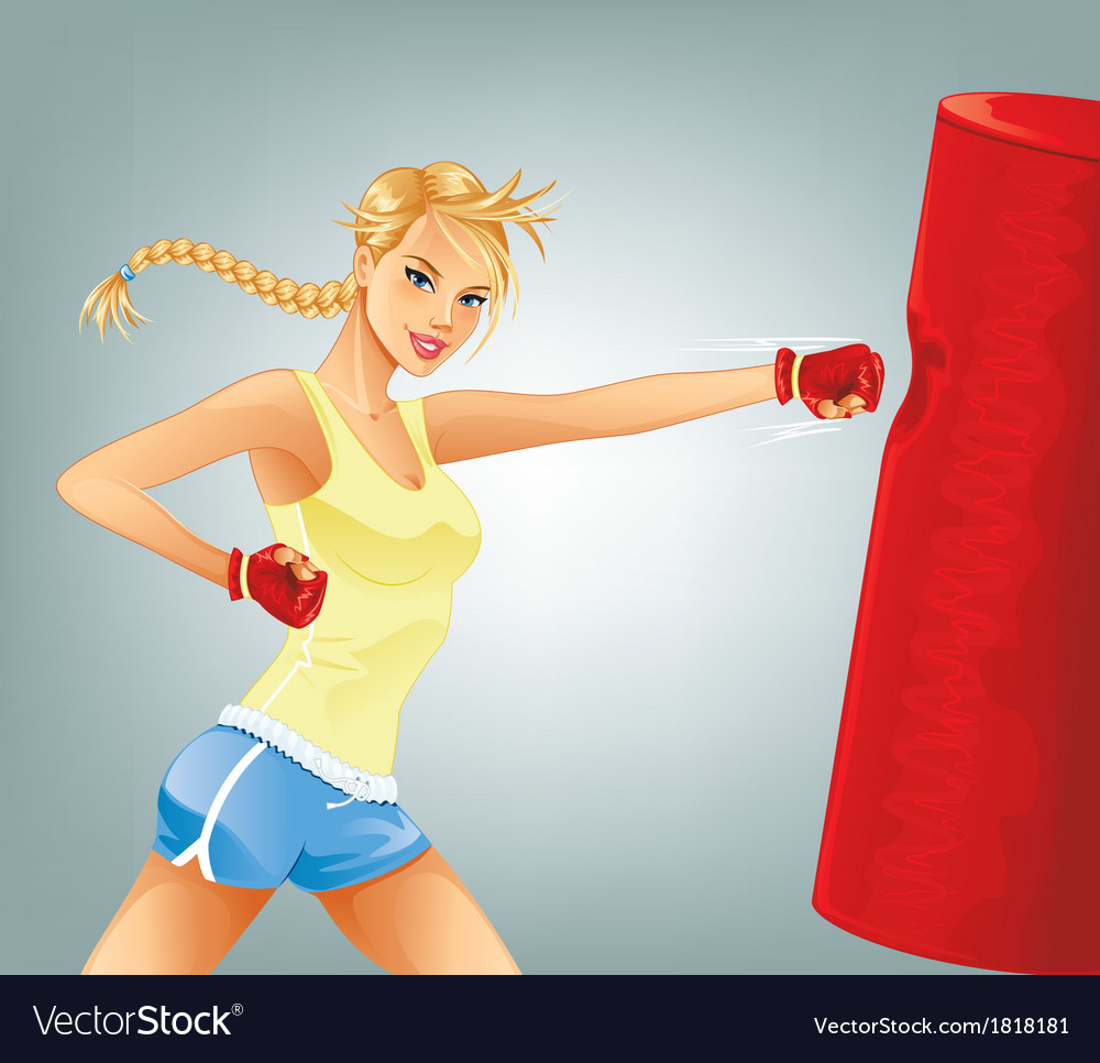 Woman boxing vector | Price: 3 Credit (USD $3)