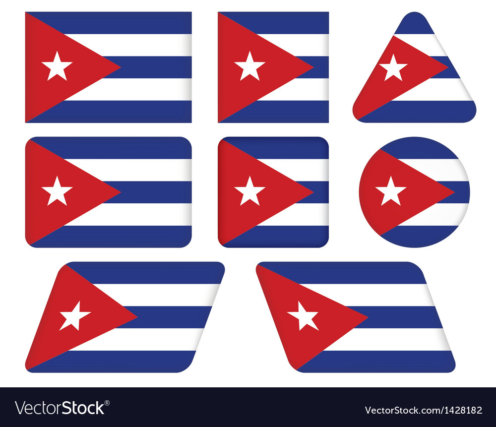 Buttons with flag of cuba vector | Price: 1 Credit (USD $1)