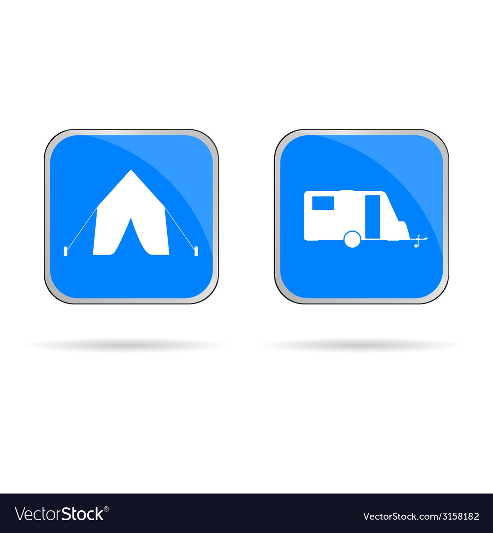 Camping sing in blue vector | Price: 1 Credit (USD $1)