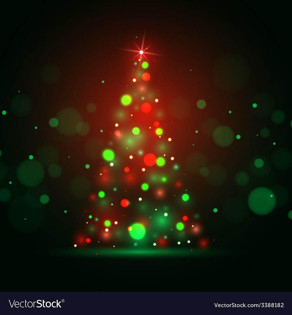 Christmas shining background with xmas tree lights vector | Price: 1 Credit (USD $1)