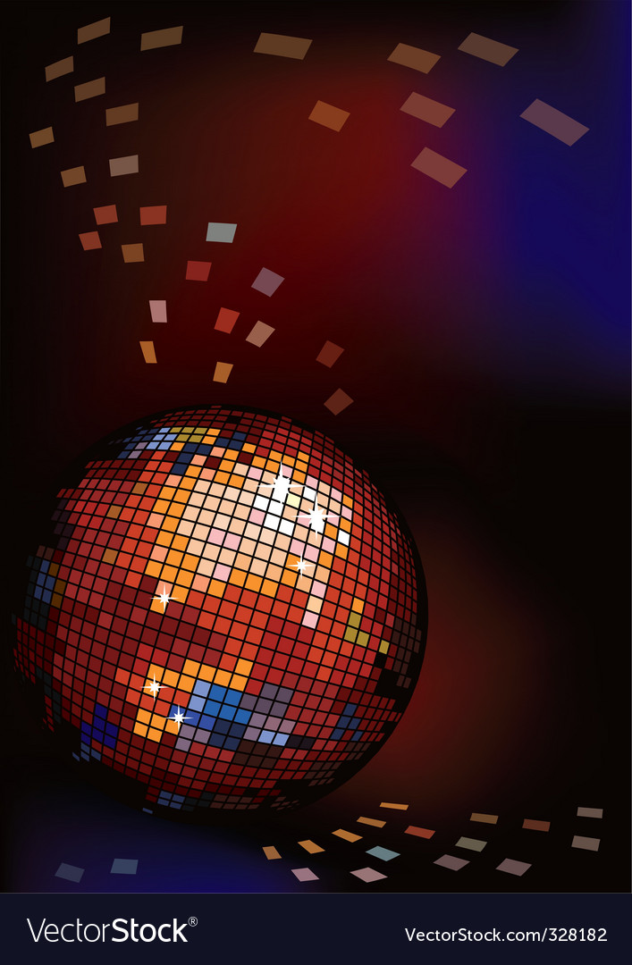 Dark background with disco ball vector | Price: 1 Credit (USD $1)
