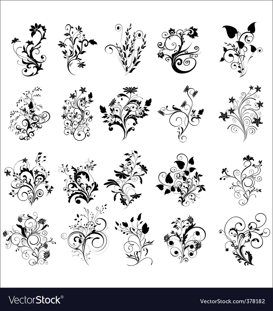 Floral elements for design vector | Price: 1 Credit (USD $1)
