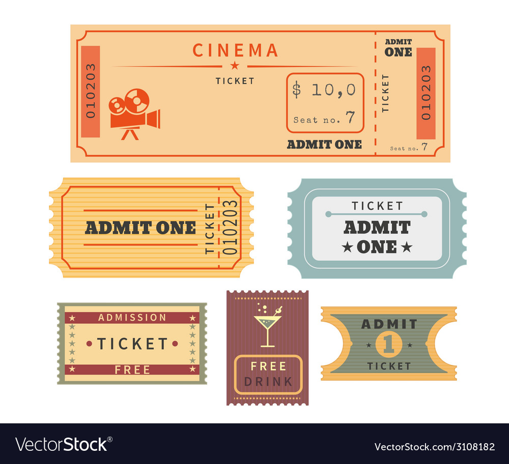 Retro tickets set vector | Price: 1 Credit (USD $1)