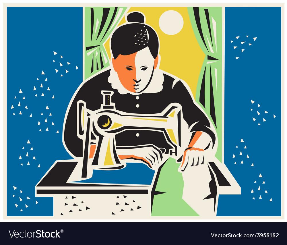 Seamstress dressmaker tailor vintage vector | Price: 1 Credit (USD $1)