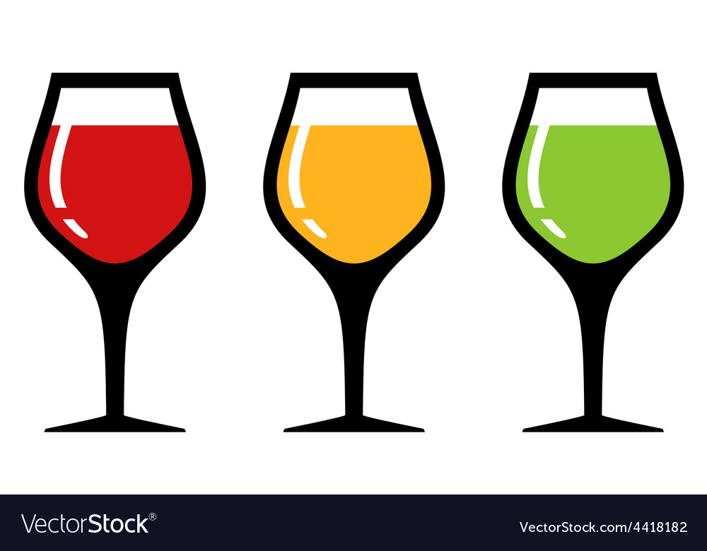 Set glass with alcohol beverage vector | Price: 1 Credit (USD $1)