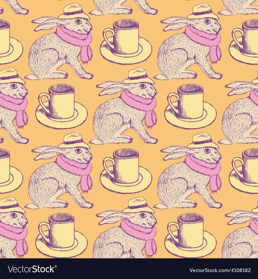 Sketch hare and cup in vintage style vector | Price: 1 Credit (USD $1)