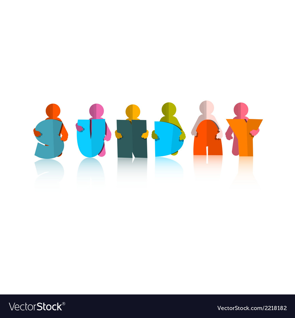Sunday colorful title - paper cut people and vector | Price: 1 Credit (USD $1)