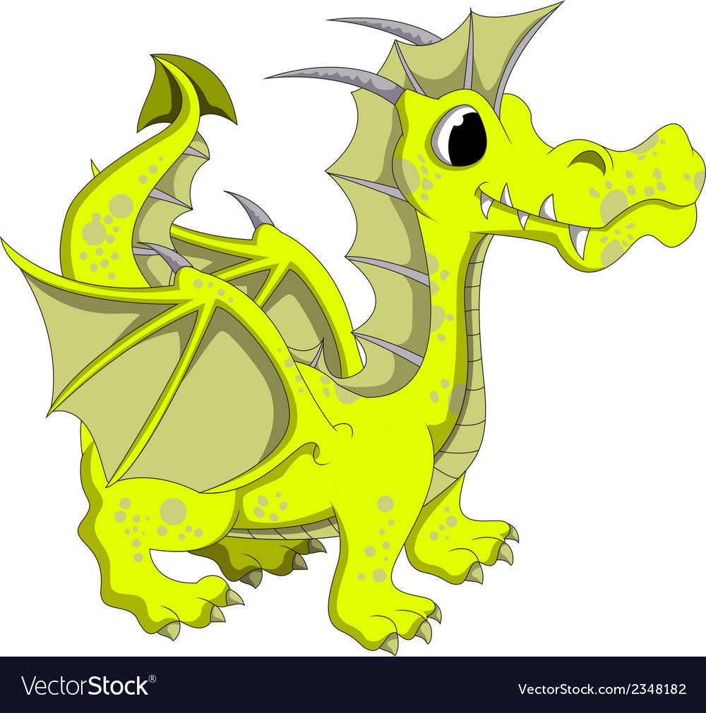 Yellow dragon cartoon vector | Price: 1 Credit (USD $1)