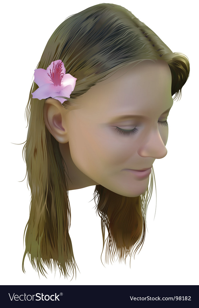 Young women with flower vector | Price: 5 Credit (USD $5)