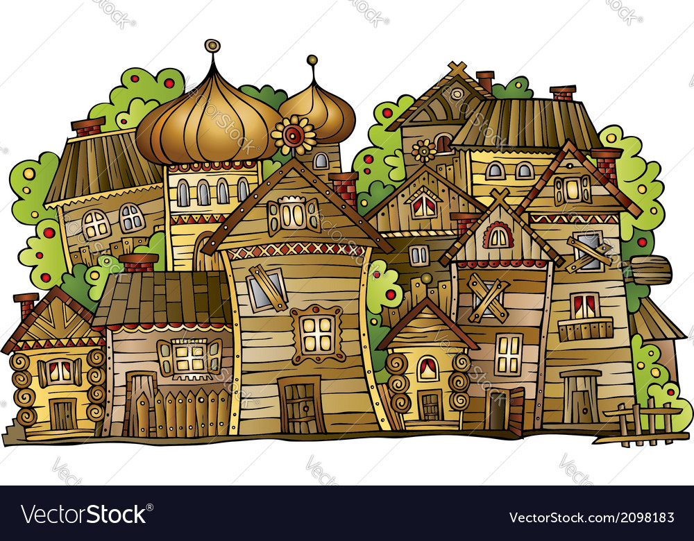 Cartoon russian old wooden village vector | Price: 1 Credit (USD $1)