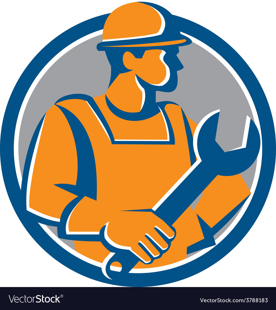 Construction worker spanner circle cartoon vector | Price: 1 Credit (USD $1)