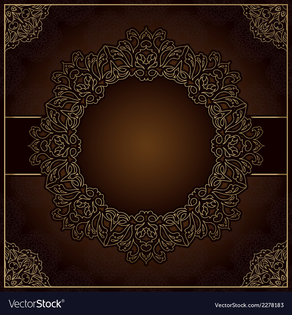 Elegant brown background with round lace ornament vector | Price: 1 Credit (USD $1)