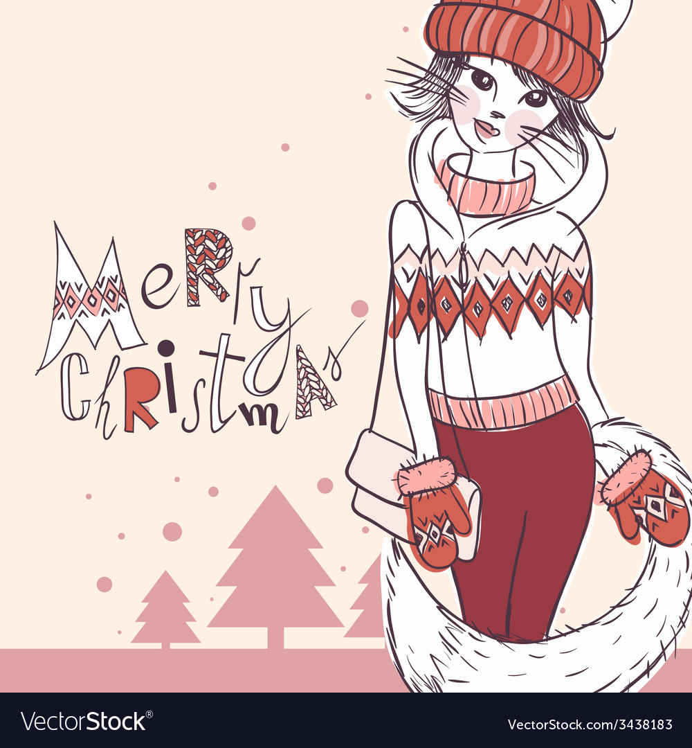 Fashion girl in a sweater christmas background vector | Price: 1 Credit (USD $1)
