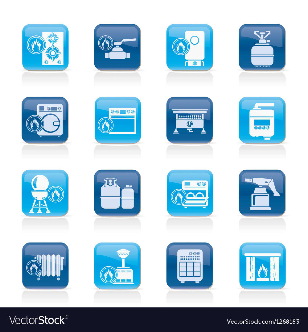 Household gas appliances icons vector | Price: 1 Credit (USD $1)