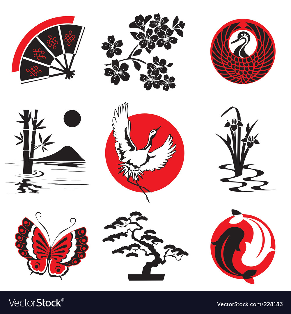 Japanese design elements vector | Price: 1 Credit (USD $1)
