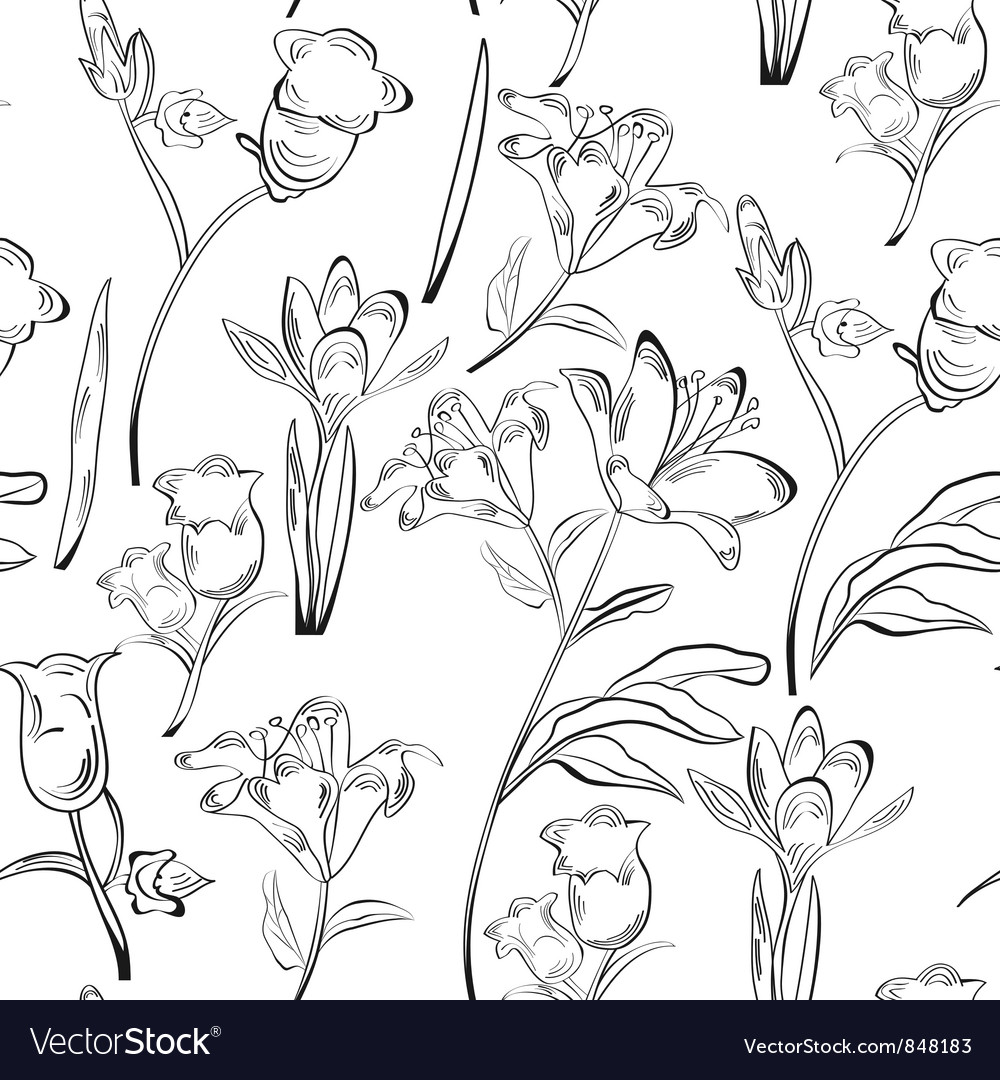 Monochrome seamless wallpaper vector | Price: 1 Credit (USD $1)