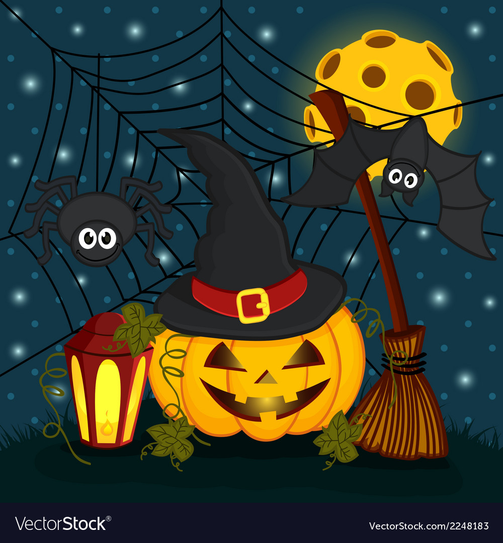 Pumpkin in eve halloween night vector | Price: 1 Credit (USD $1)