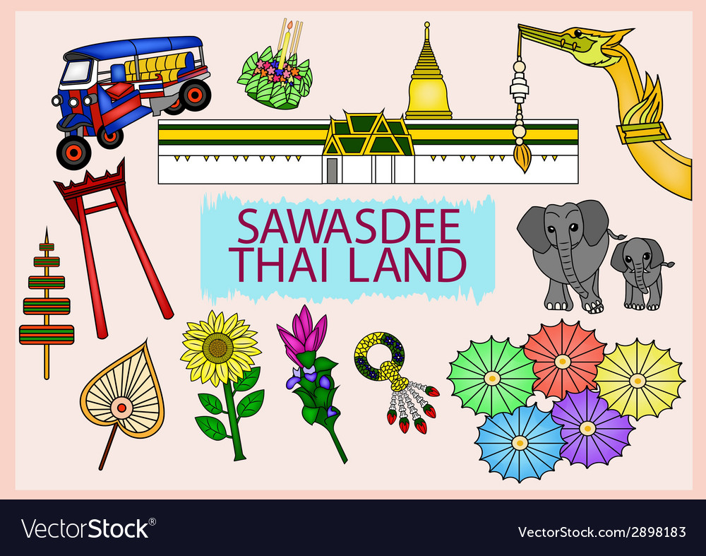 Set of sawasdee thailand culture - vector | Price: 1 Credit (USD $1)