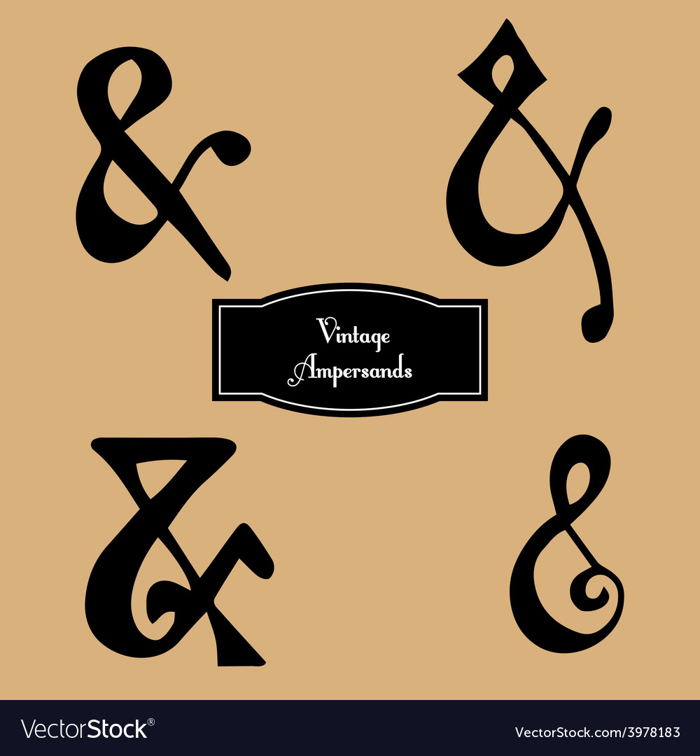 Set of vintage hand lettered ampersands vector | Price: 1 Credit (USD $1)