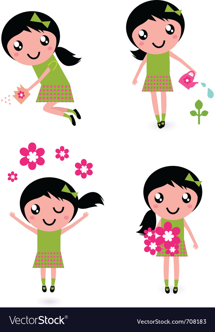 Spring flower girl vector | Price: 1 Credit (USD $1)