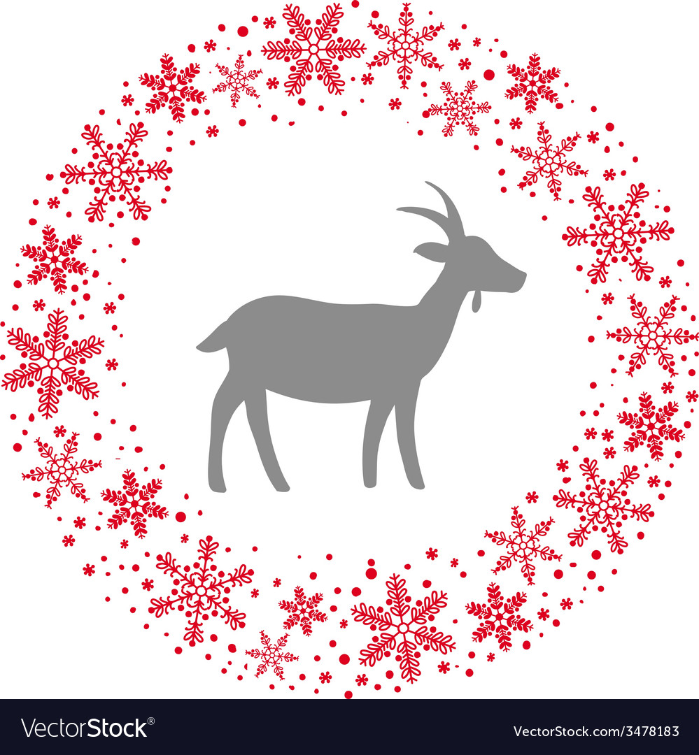 Winter christmas round wreath with snowflakes and vector | Price: 1 Credit (USD $1)