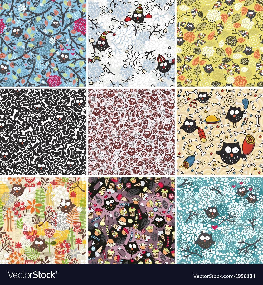 Big set of seamless patterns with cute owls vector | Price: 1 Credit (USD $1)
