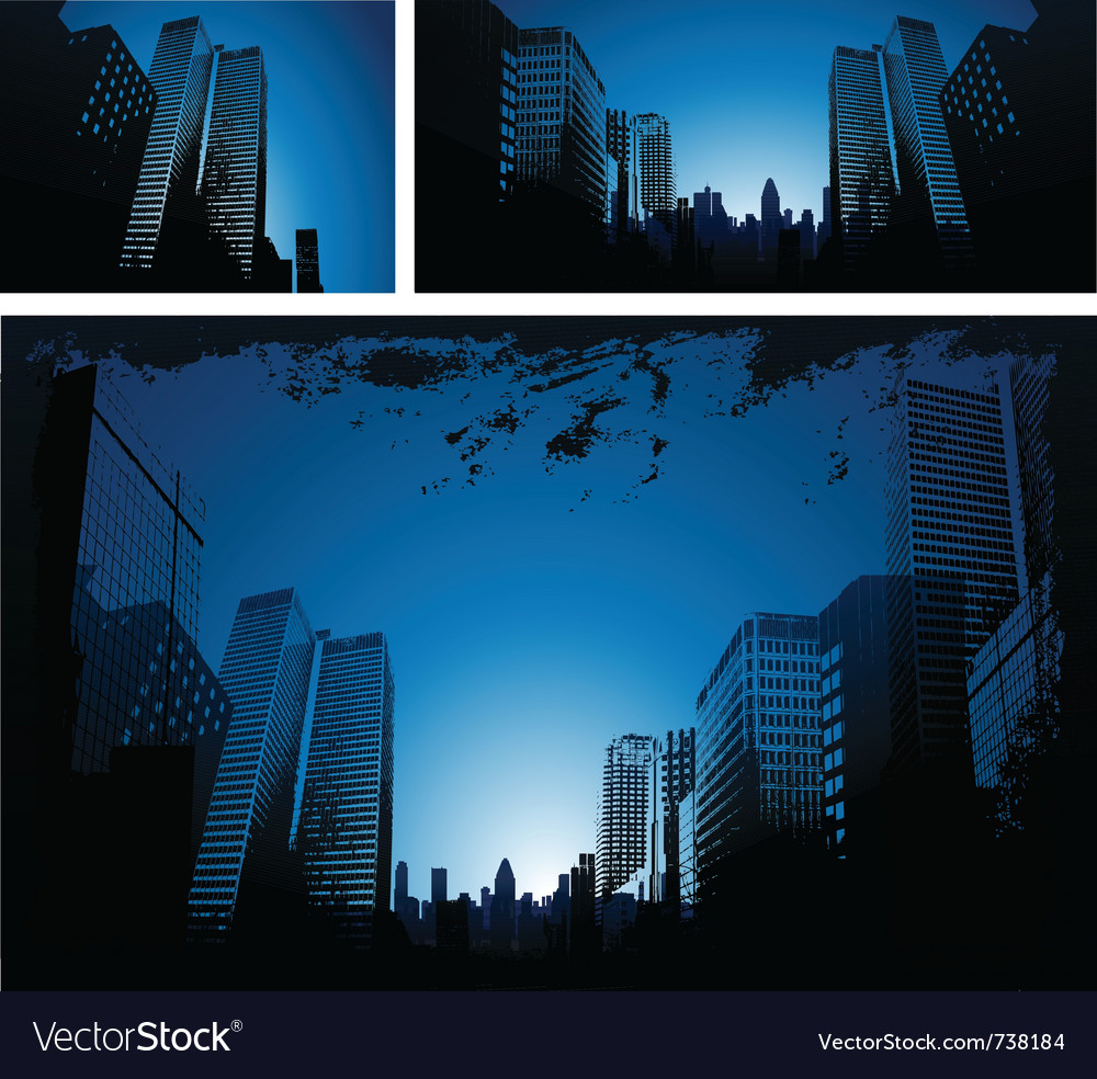 Blue city downtown background vector | Price: 1 Credit (USD $1)