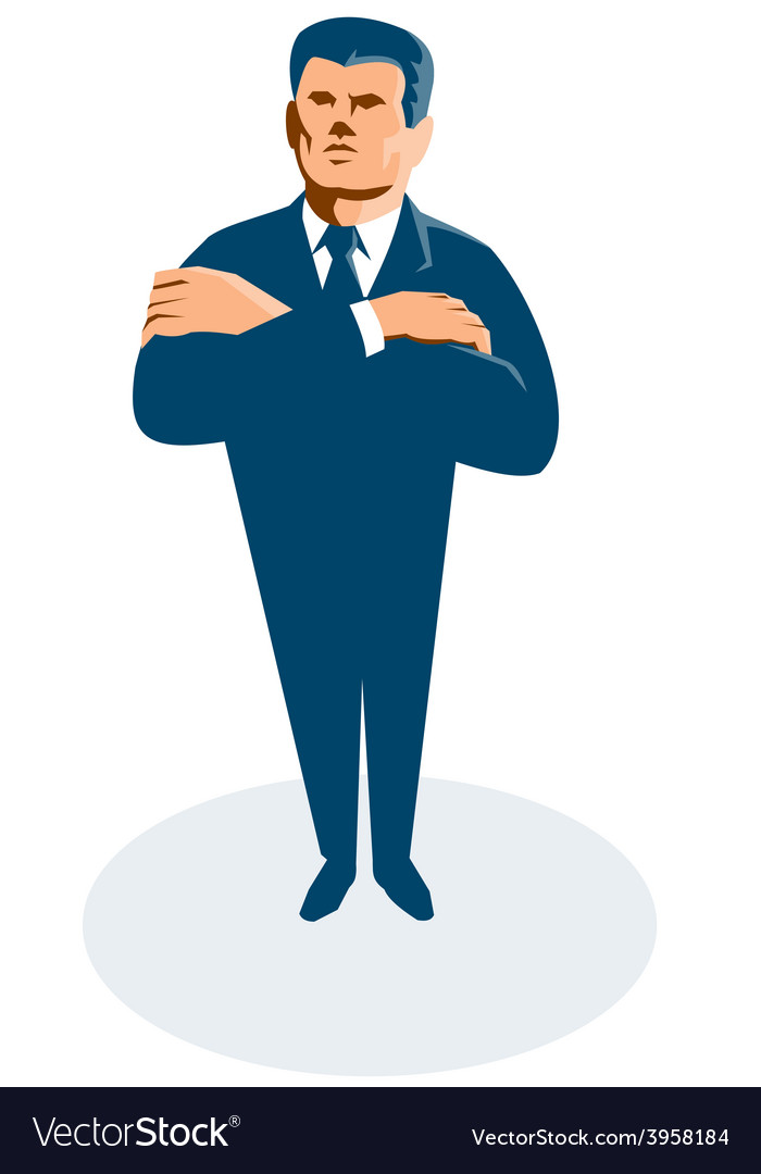 Businessman secret agent arms crossed vector | Price: 1 Credit (USD $1)