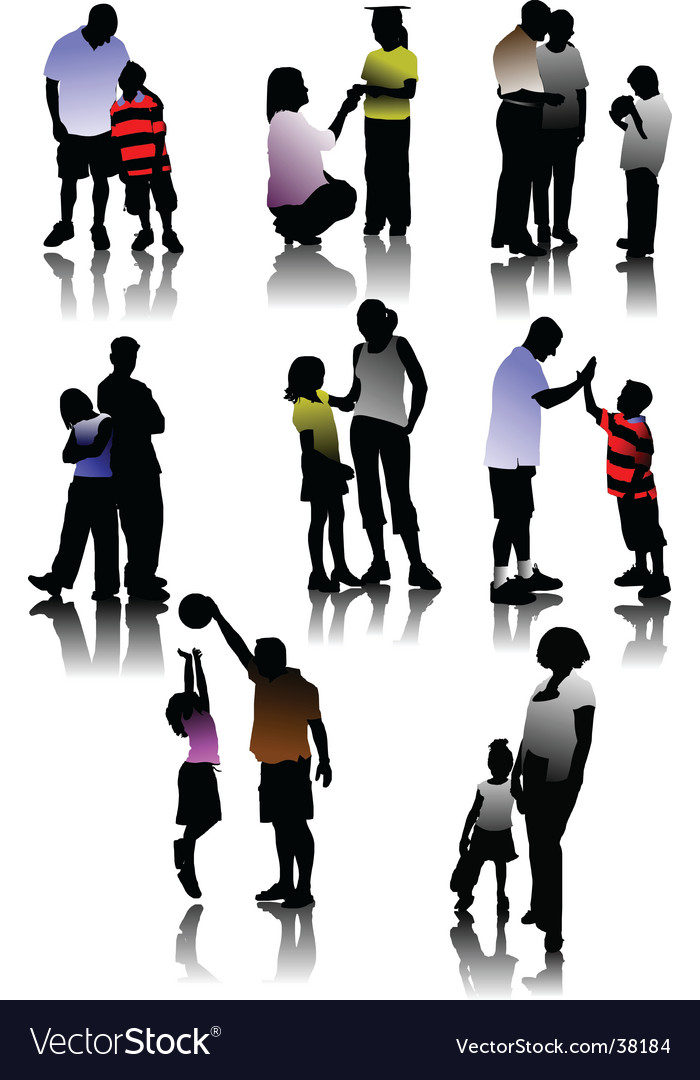 Children with parents vector | Price: 1 Credit (USD $1)
