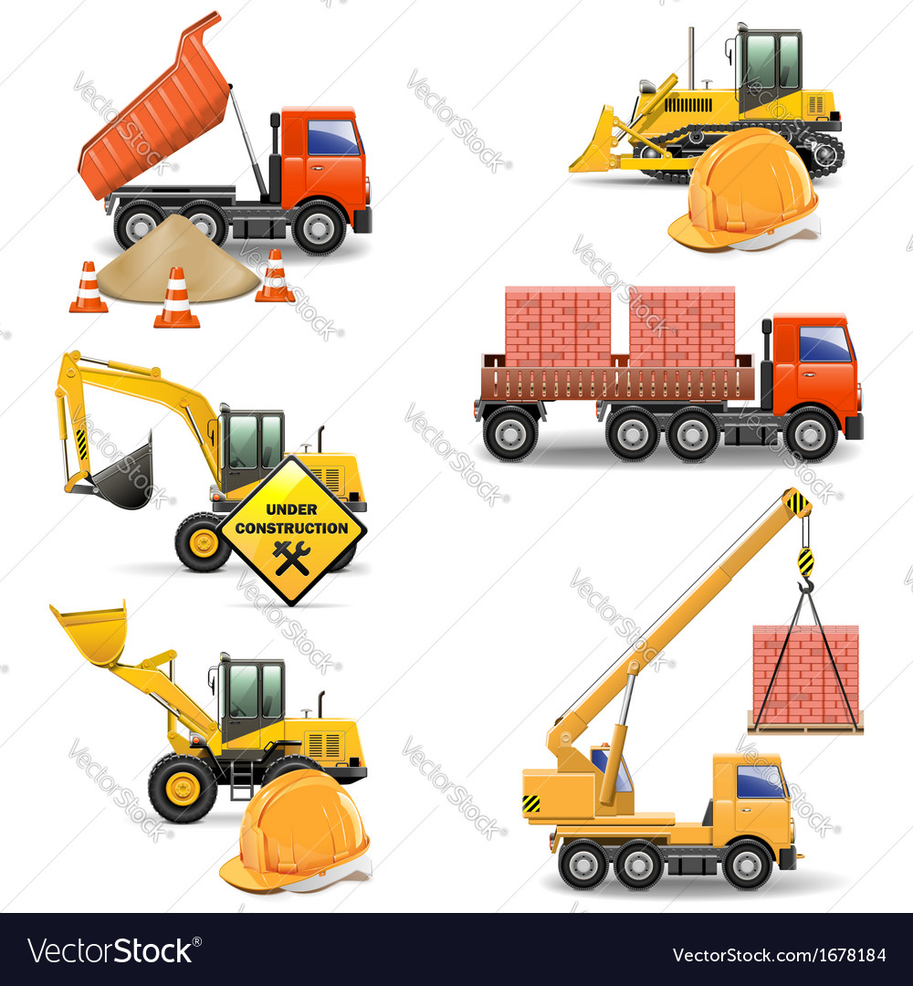 Construction machines set 4 vector | Price: 1 Credit (USD $1)
