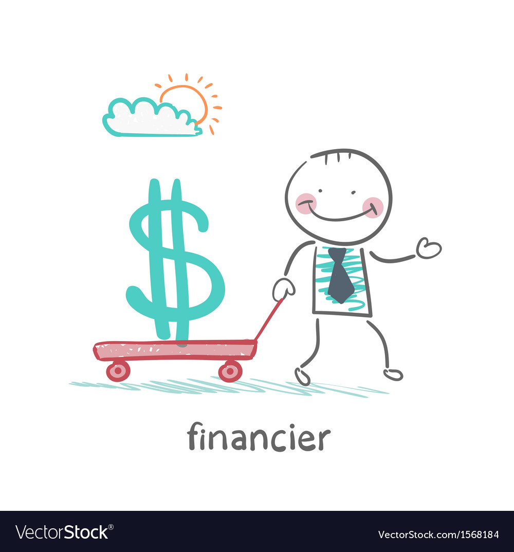 Financier carries a wheelbarrow with a dollar sign vector | Price: 1 Credit (USD $1)