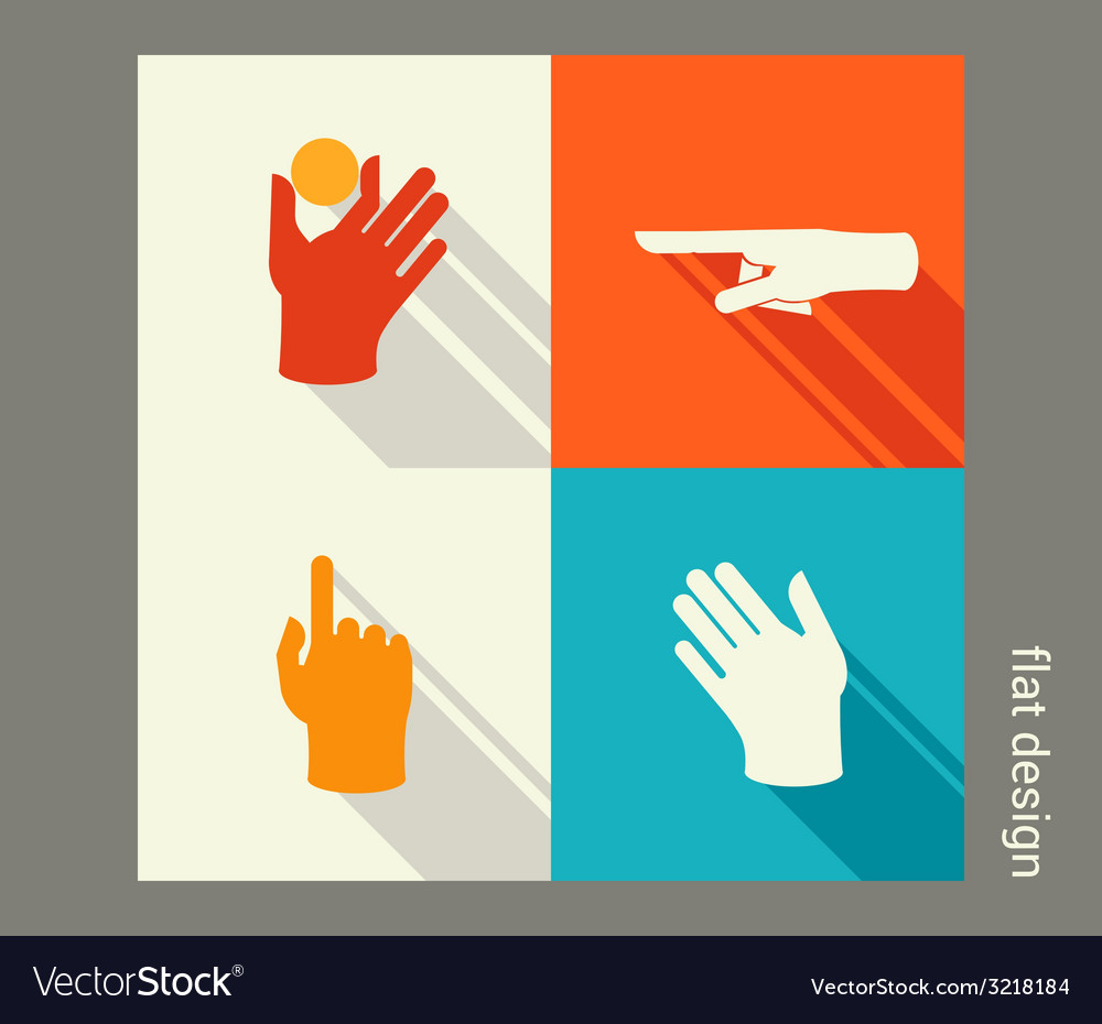 Hands icon set for website or application flat vector | Price: 1 Credit (USD $1)