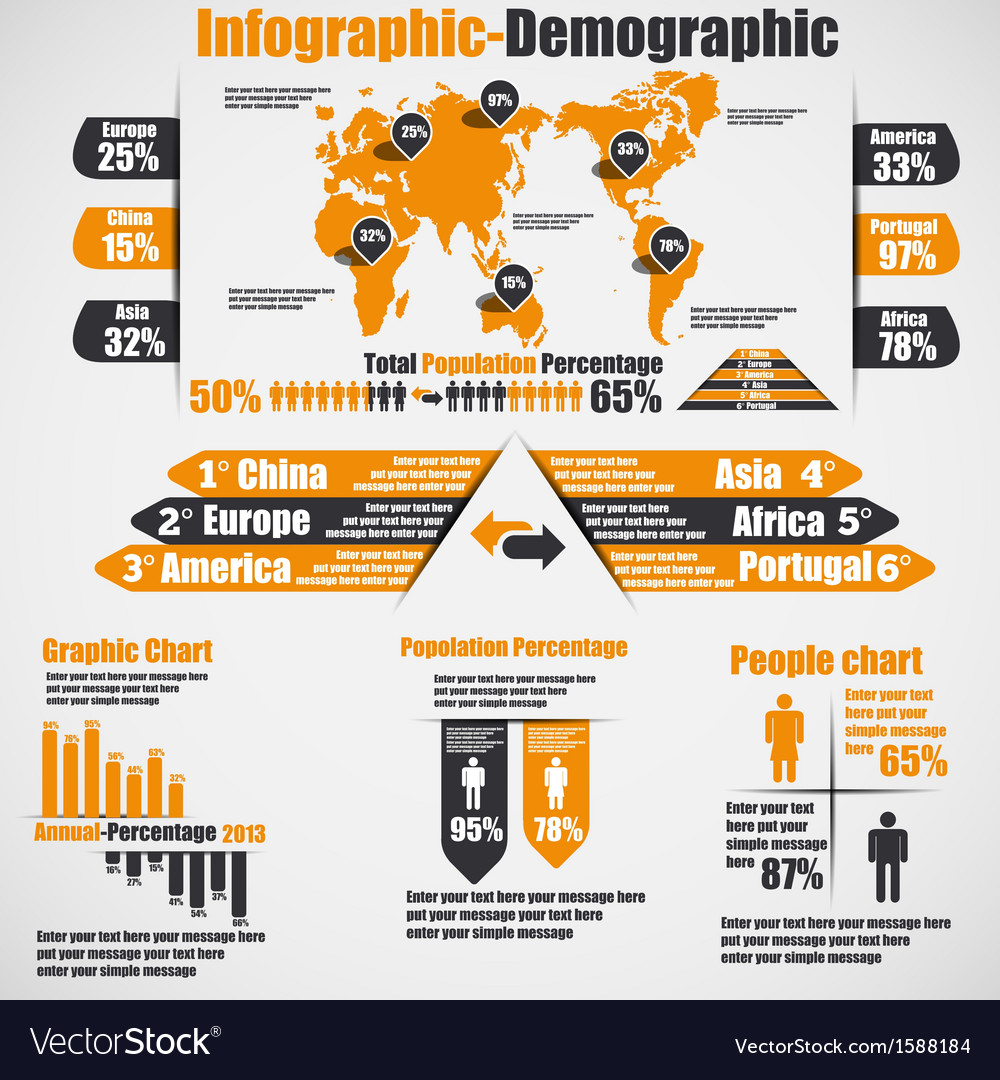 Infographic demographic new style 10 orange vector | Price: 1 Credit (USD $1)