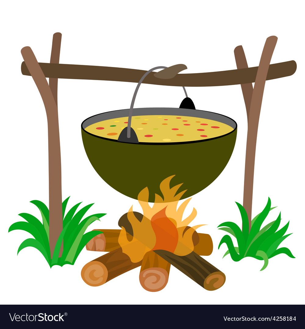 Kettle of soup in campfire vector | Price: 1 Credit (USD $1)