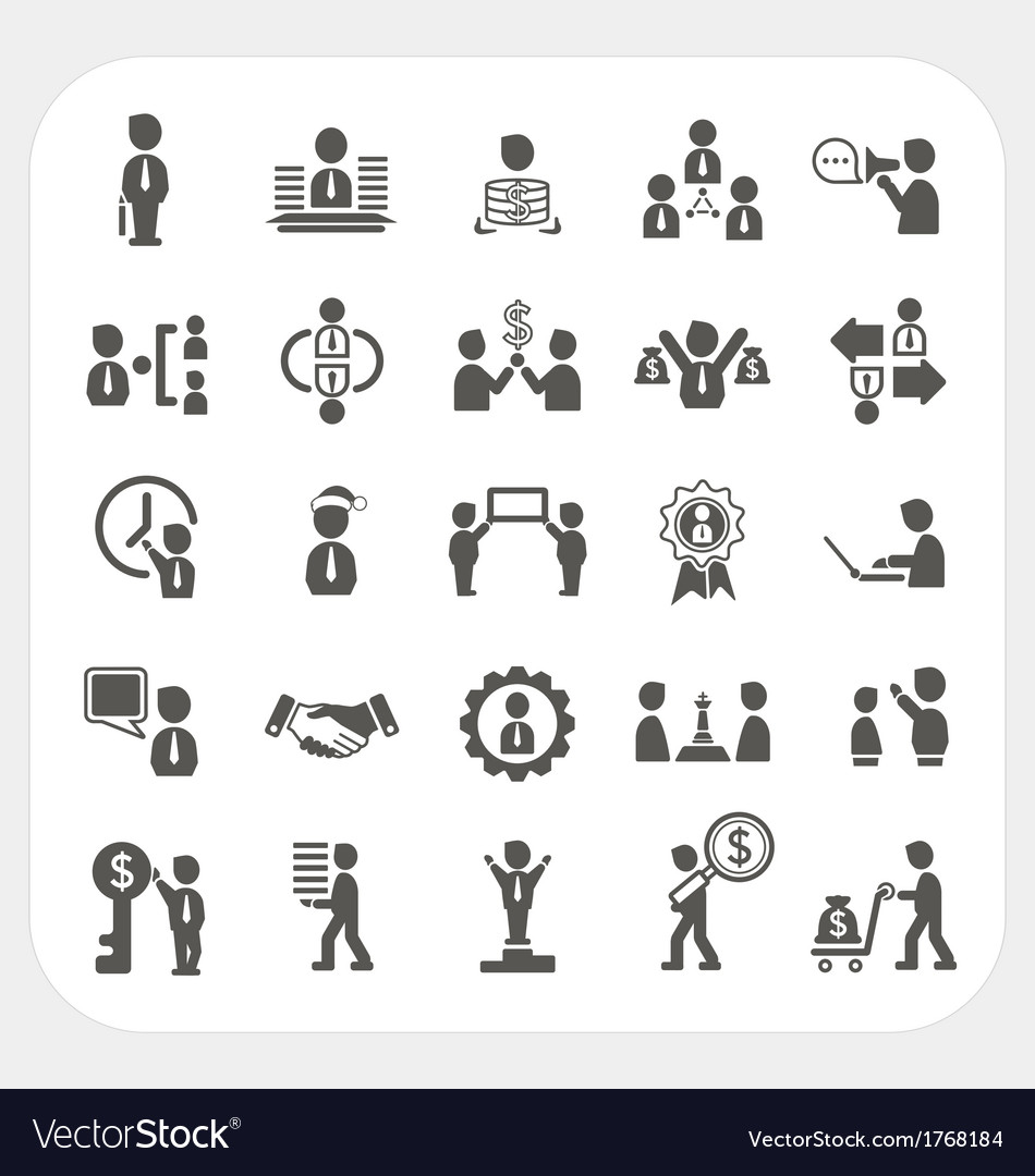 Management and business icons set vector | Price: 1 Credit (USD $1)