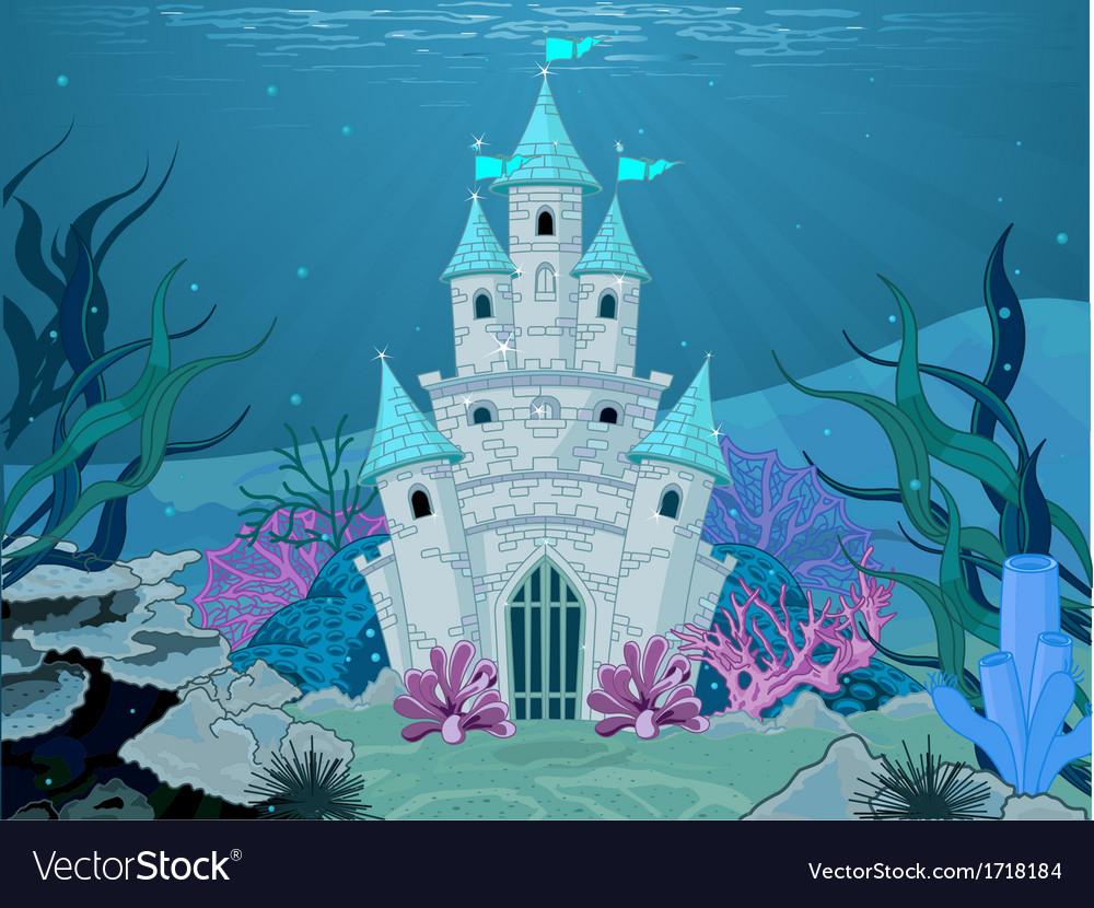 Mermaid castle vector