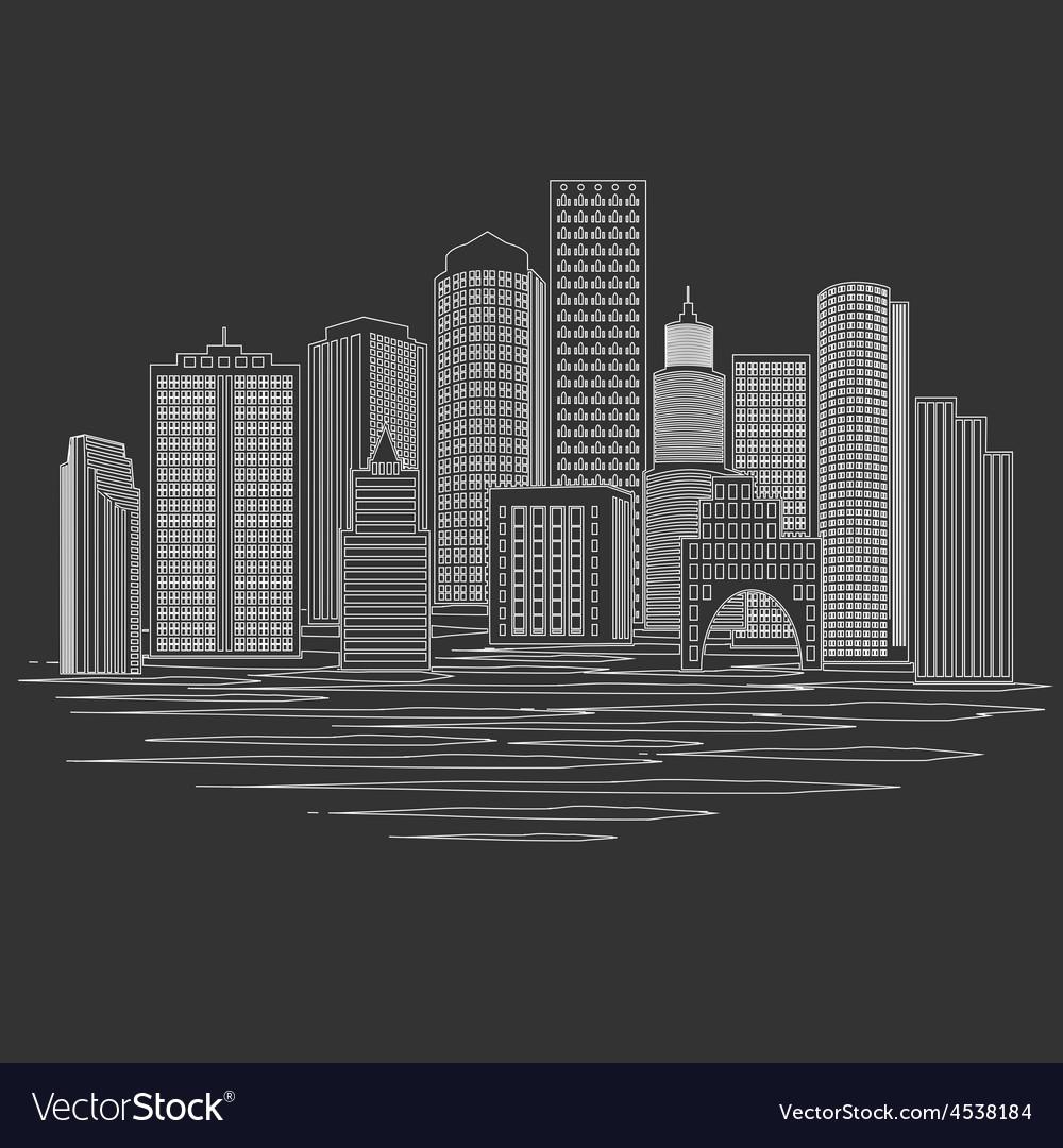 Modern city skyline vector | Price: 1 Credit (USD $1)