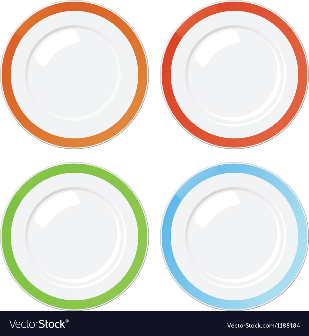 Set of four clean plates with coloured borders vector | Price: 1 Credit (USD $1)