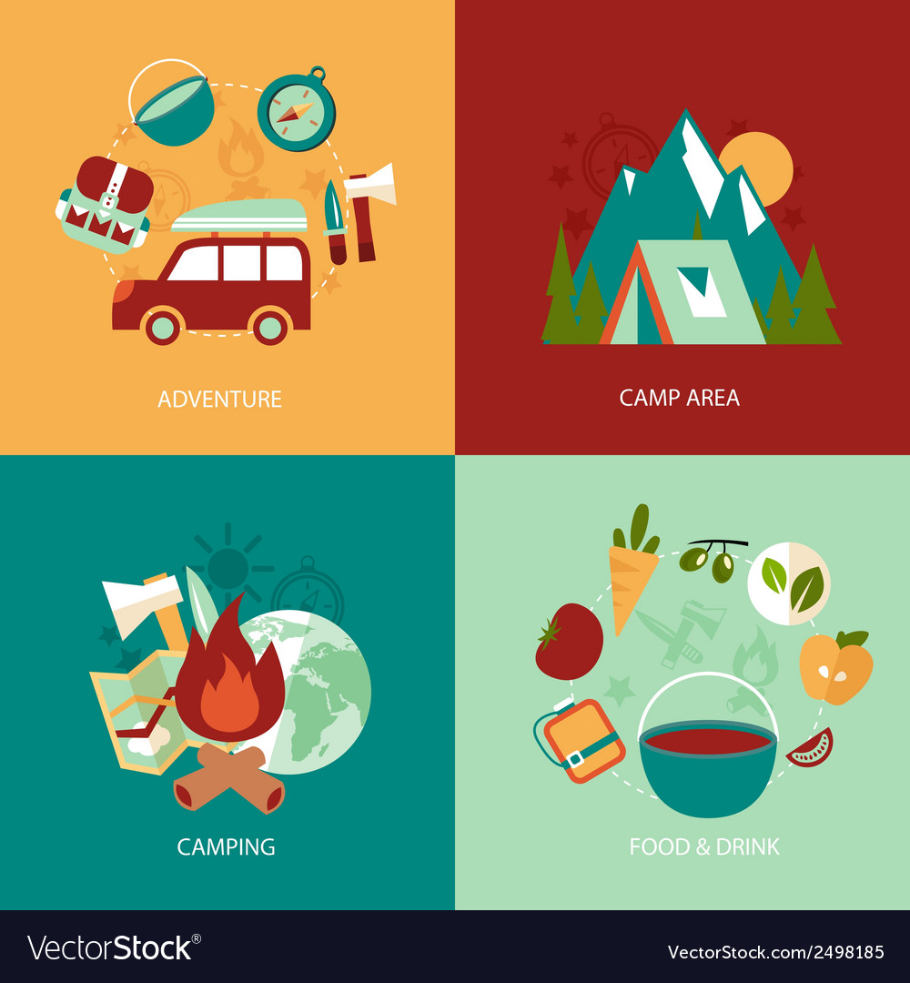 Camping flat icons set vector | Price: 3 Credit (USD $3)