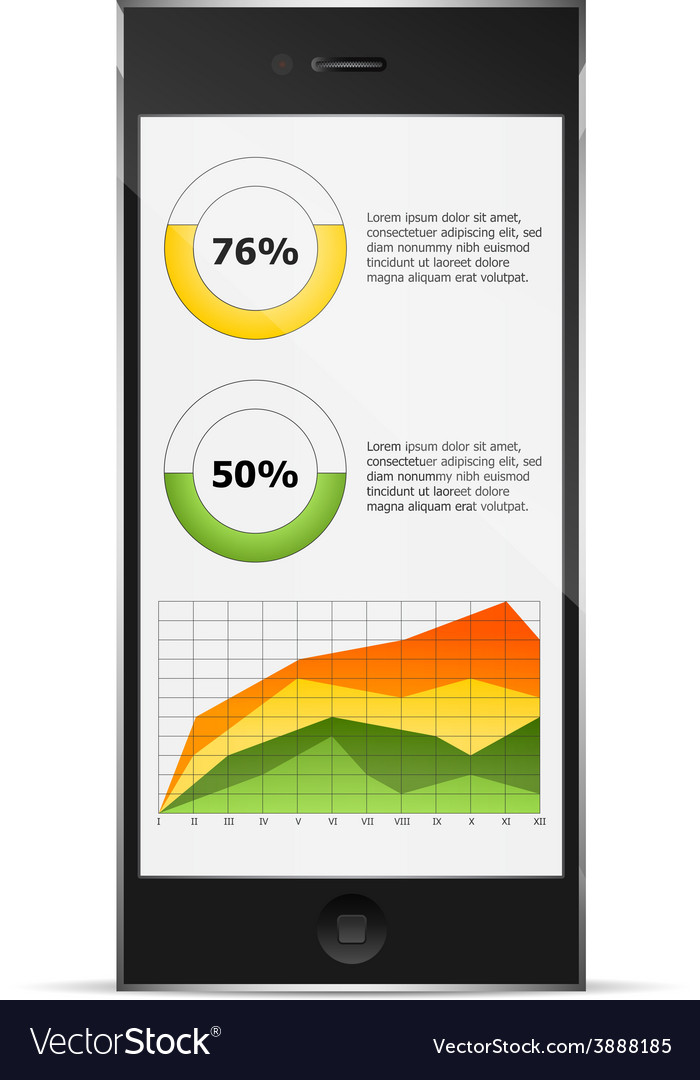 Diagrams on phone display vector | Price: 1 Credit (USD $1)
