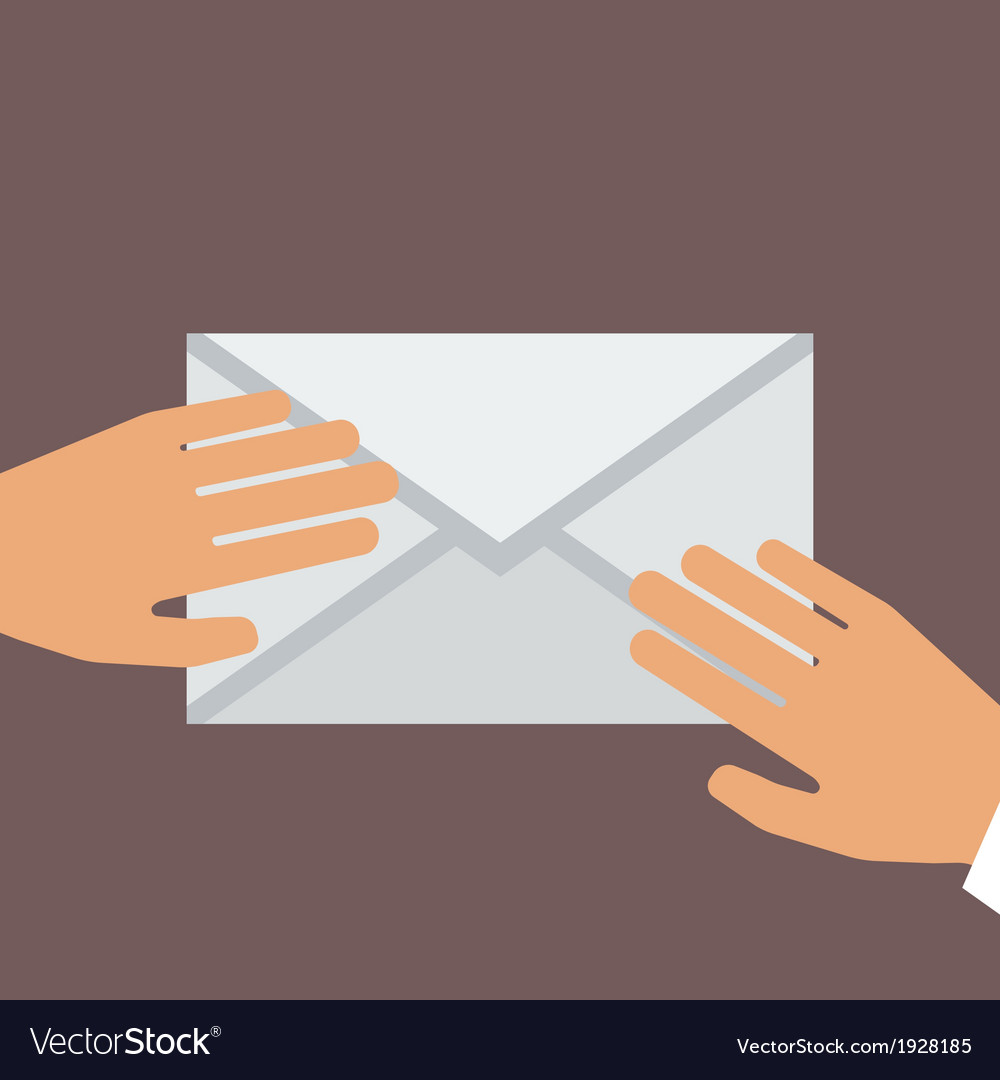 Hand holding envelope flat style vector | Price: 1 Credit (USD $1)