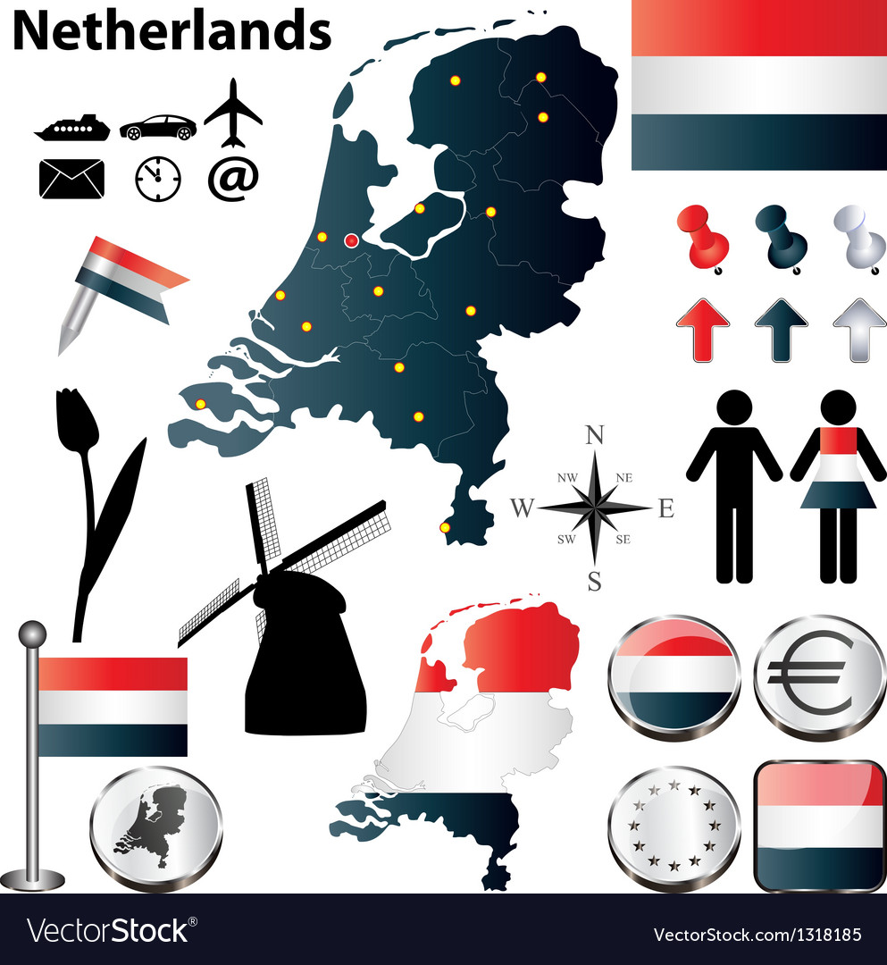 Map of netherlands vector | Price: 1 Credit (USD $1)