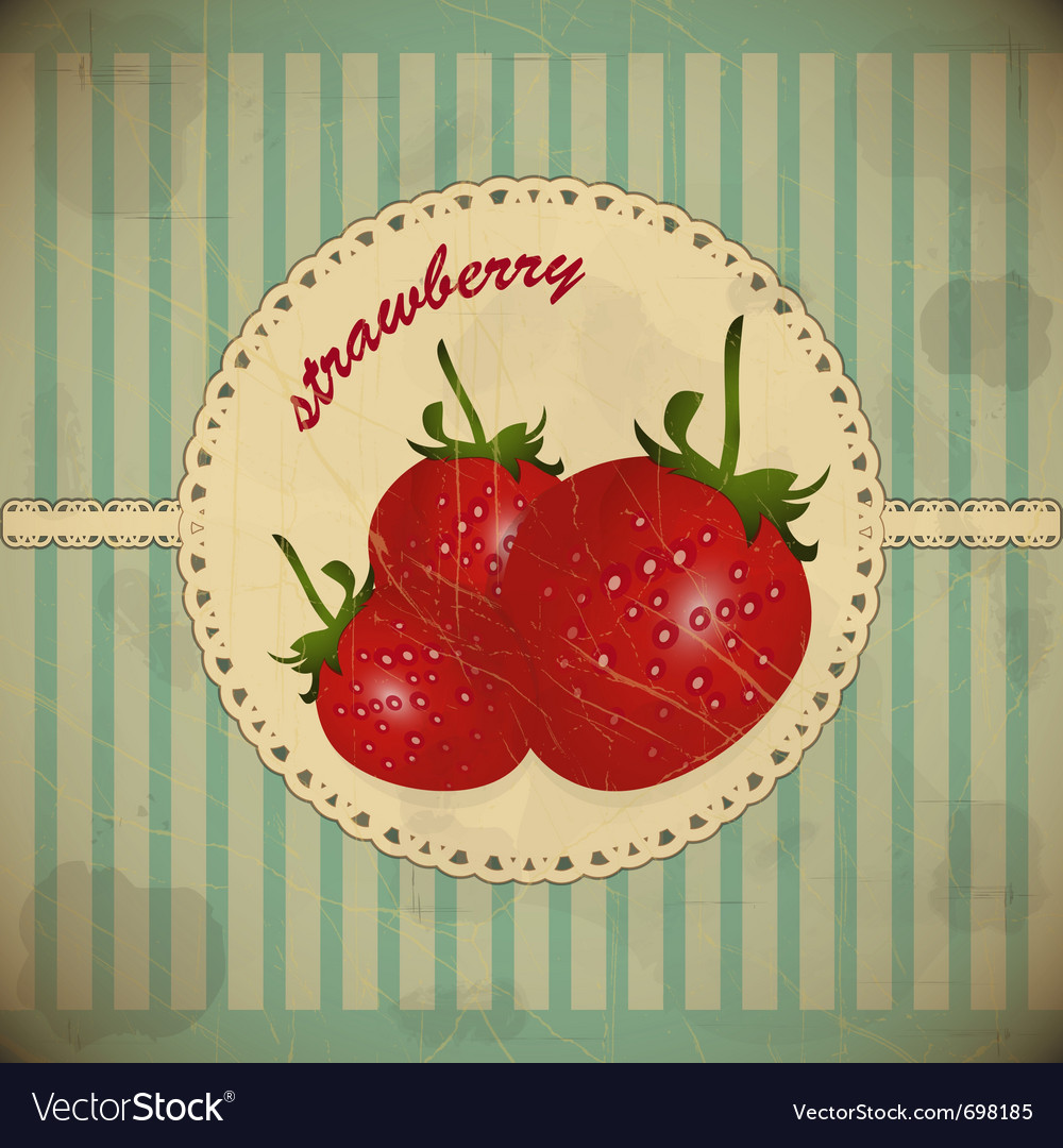 Ripe strawberry card vector | Price: 1 Credit (USD $1)