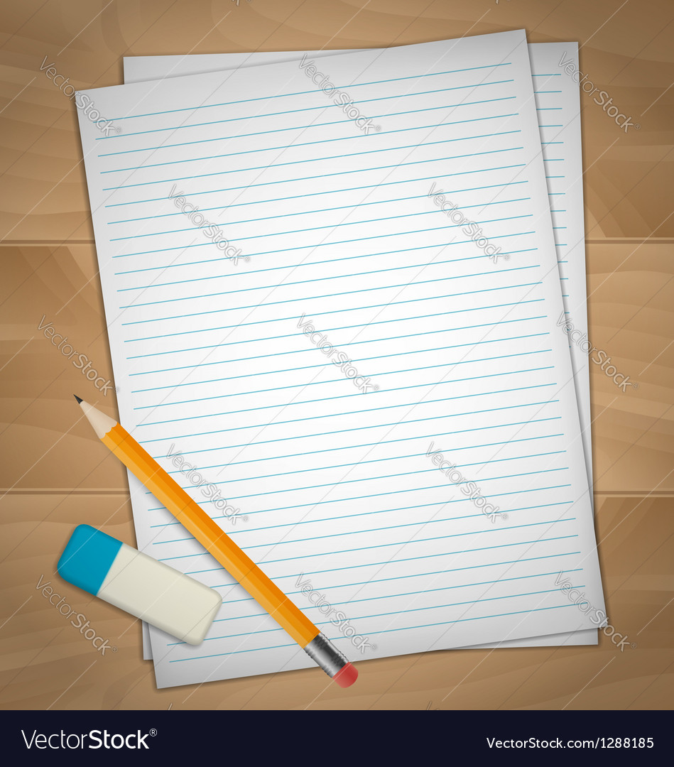 Sheets of paper rubber and pencil vector | Price: 1 Credit (USD $1)