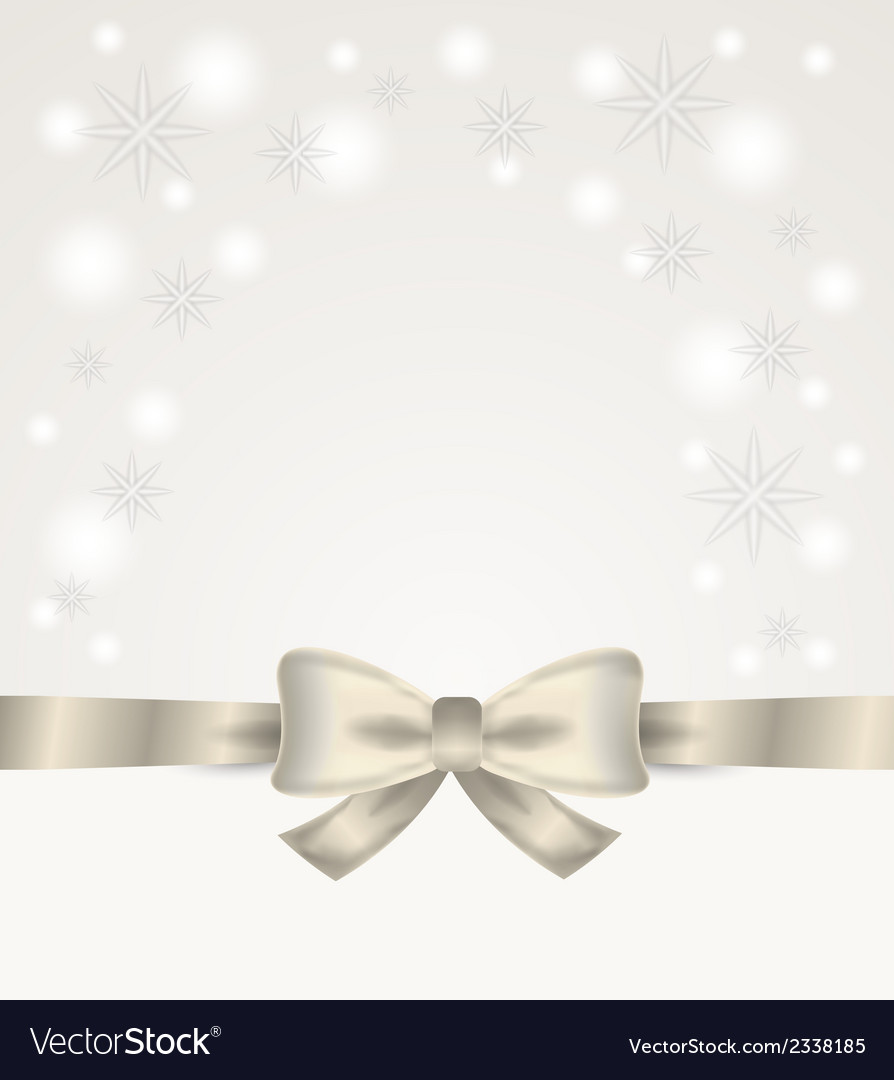 Silver ribbon and bow with stars and snow flakes vector | Price: 1 Credit (USD $1)