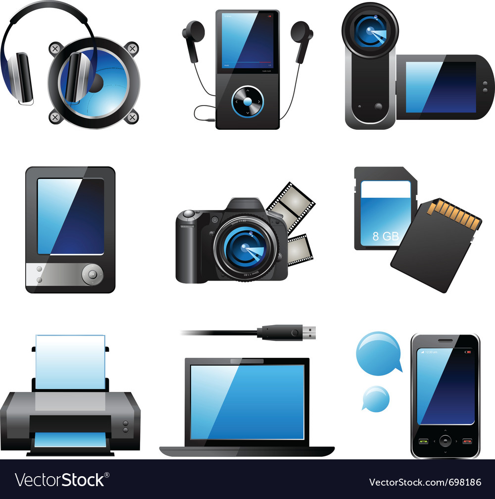 9 highly detailed electronic devices icons vector | Price: 3 Credit (USD $3)
